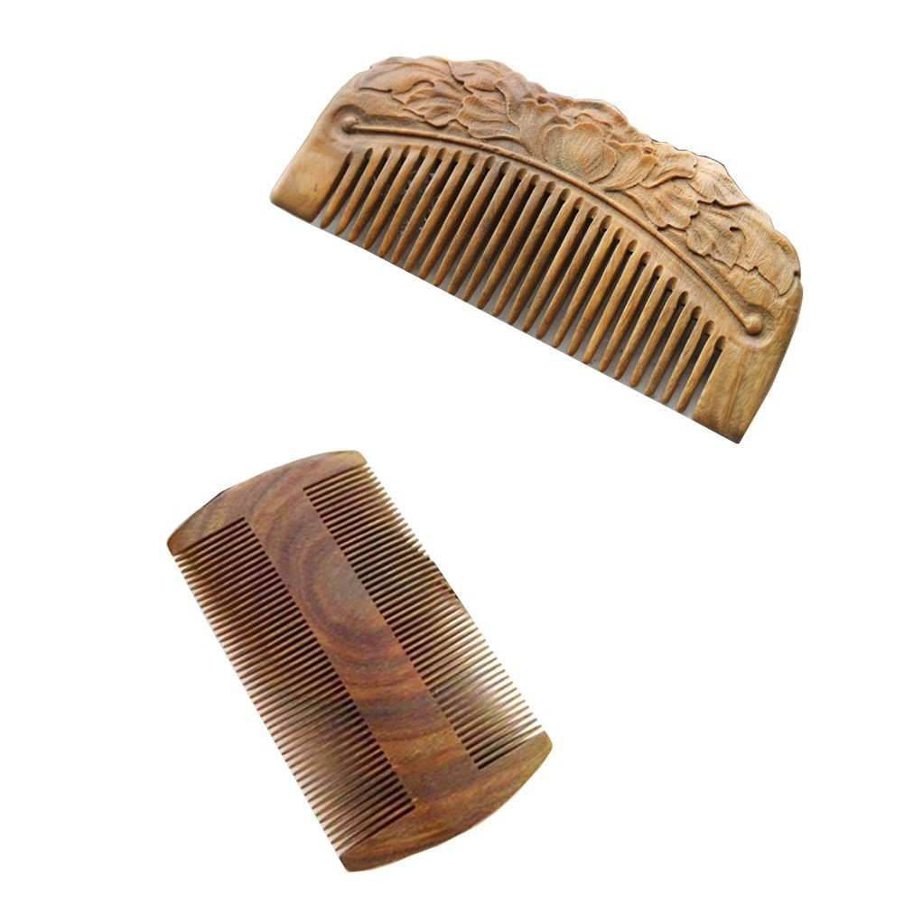 WCHUANG Natural Green Sandalwood Wood Comb-handmade,portable with Aromatic Smell, Set of 2