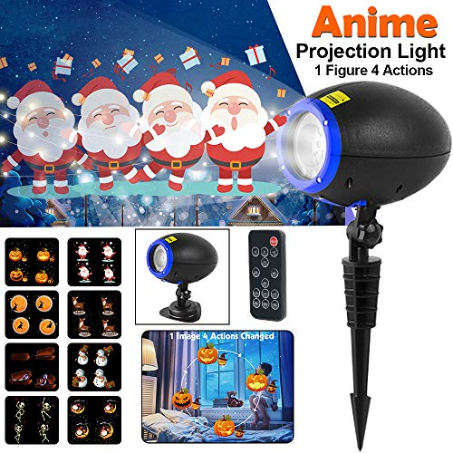 Christmas Projector Lights, LED Animated Projector Light, IP65 Waterproof Motion Outdoor Indoor Landscape Lamp Projector with Remote Control Halloween Birthday Party Holiday and Garden Decoration -