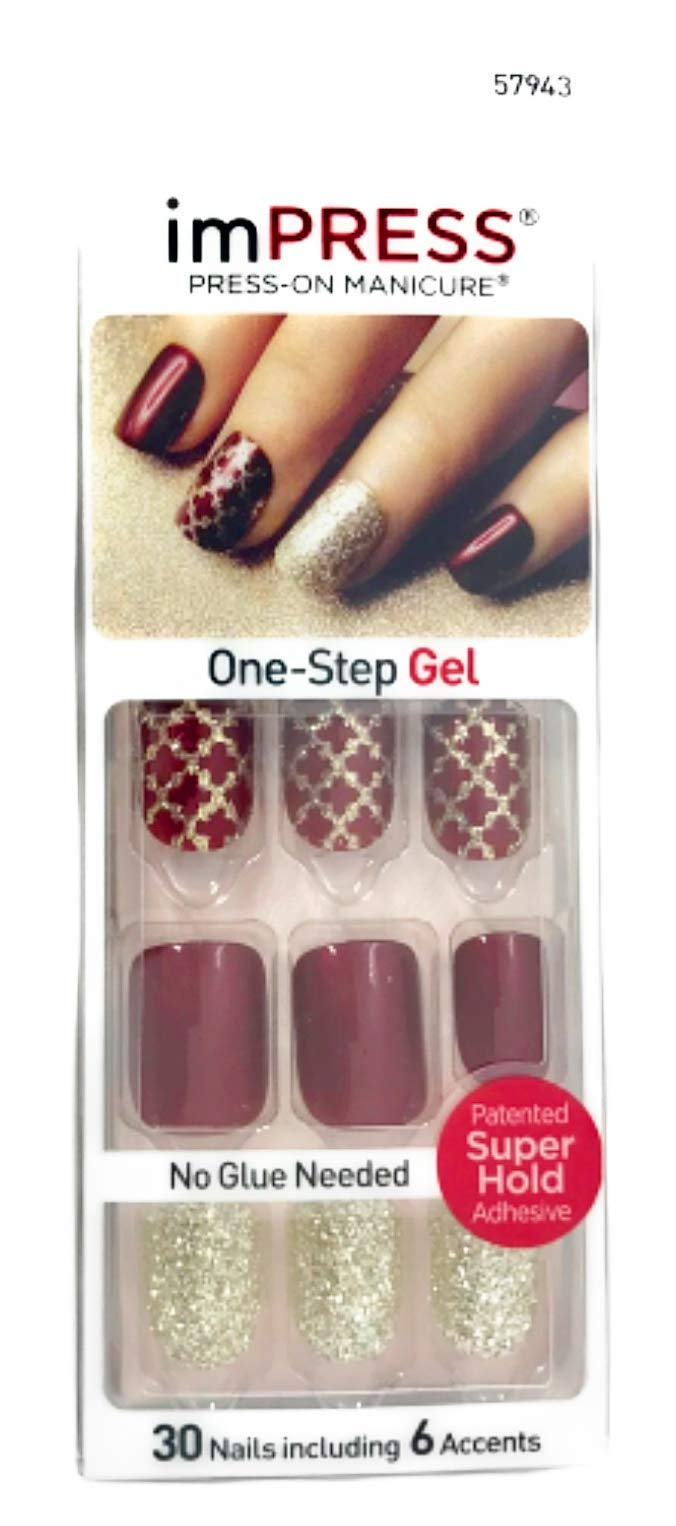 Kiss ImPress Manicure Short Length Press-On Gel Nails 57943 Night Fever by BROADWAY NAILS