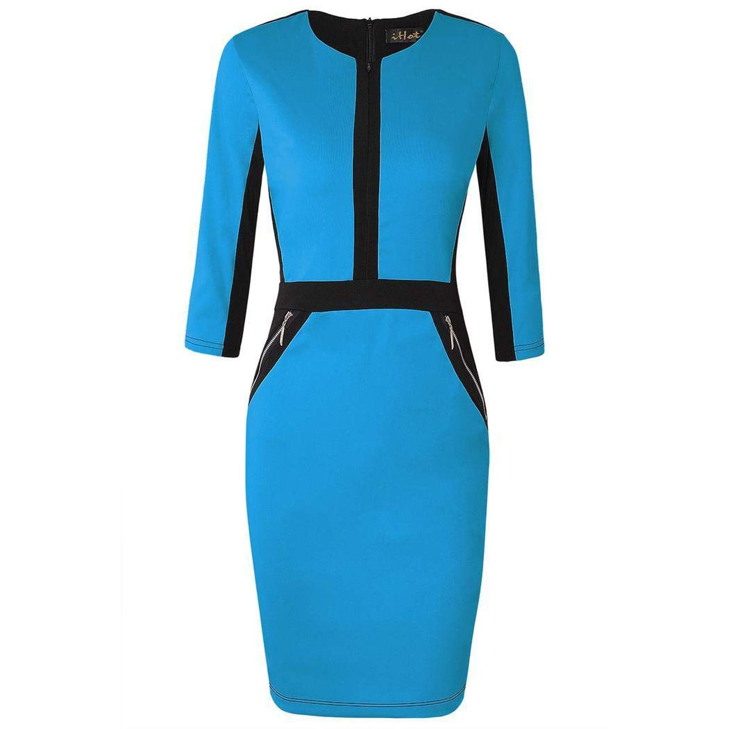 bluee Yksth Women Fashion Round Neck Long Sleeve Contrast color Patchwork Dress Dresses