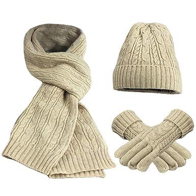 6b722be4bc7539 FEOYA Damen Schal Mütze Handschuh Set Warme Winter Set Gestrickt Beanie  Kappe Lange Strickschal