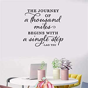 Vinyl Wall Lettering Stickers Quotes and Saying The Journey of a Thousand Miles Begins with a Single Step for Living Room Bedroom