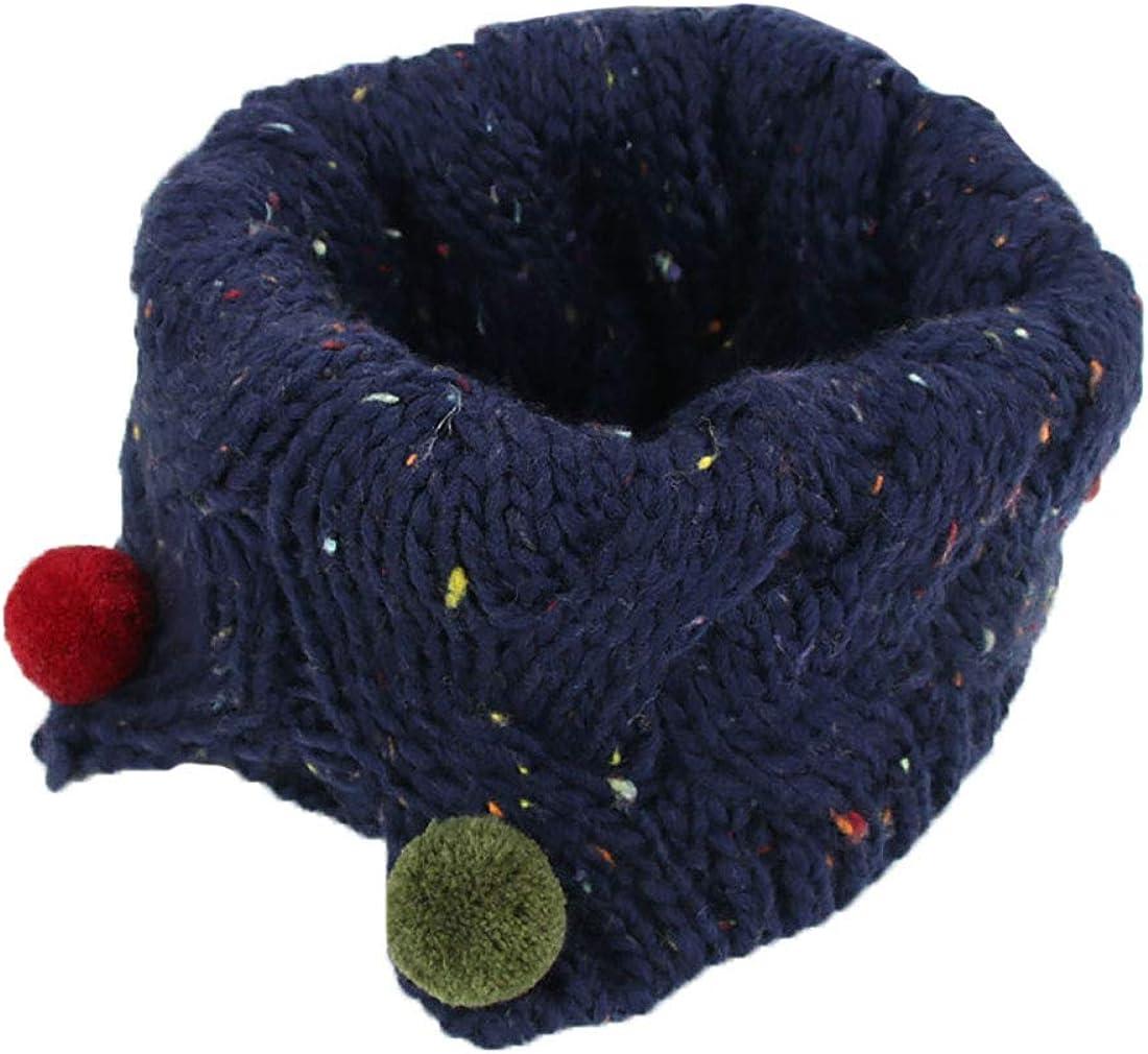 Boomly Autunno e Inverno Carino Caldo Sciarpe Lana a Maglia O-ring Loop Sciarpa Sciarpe con Pom Pom Sciarpa Infinita Scaldacollo per Bambini