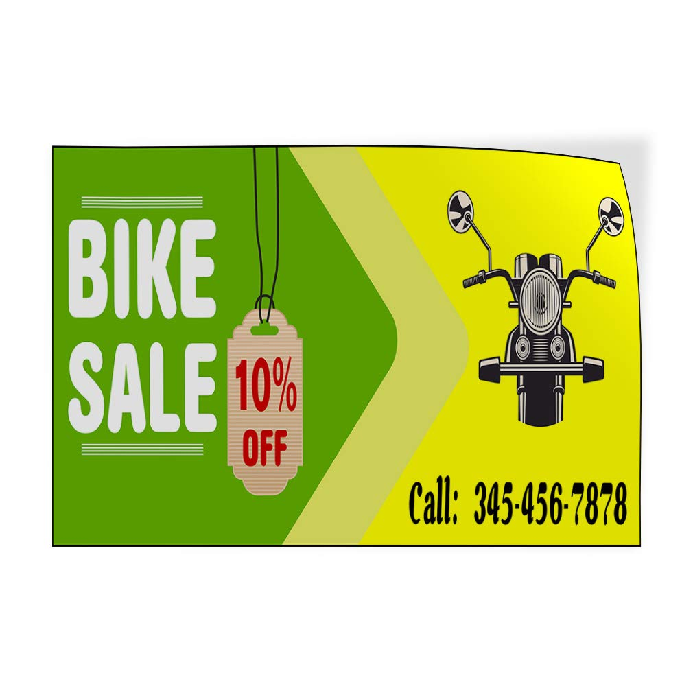 Custom Door Decals Vinyl Stickers Multiple Sizes Bike Sale Call Phone Number Green Yellow Business Sale Outdoor Luggage /& Bumper Stickers for Cars Green 54X36Inches Set of 5