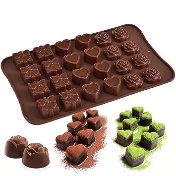 Molde de chocolate con forma de corazón de rosa, caja de regalo con forma de