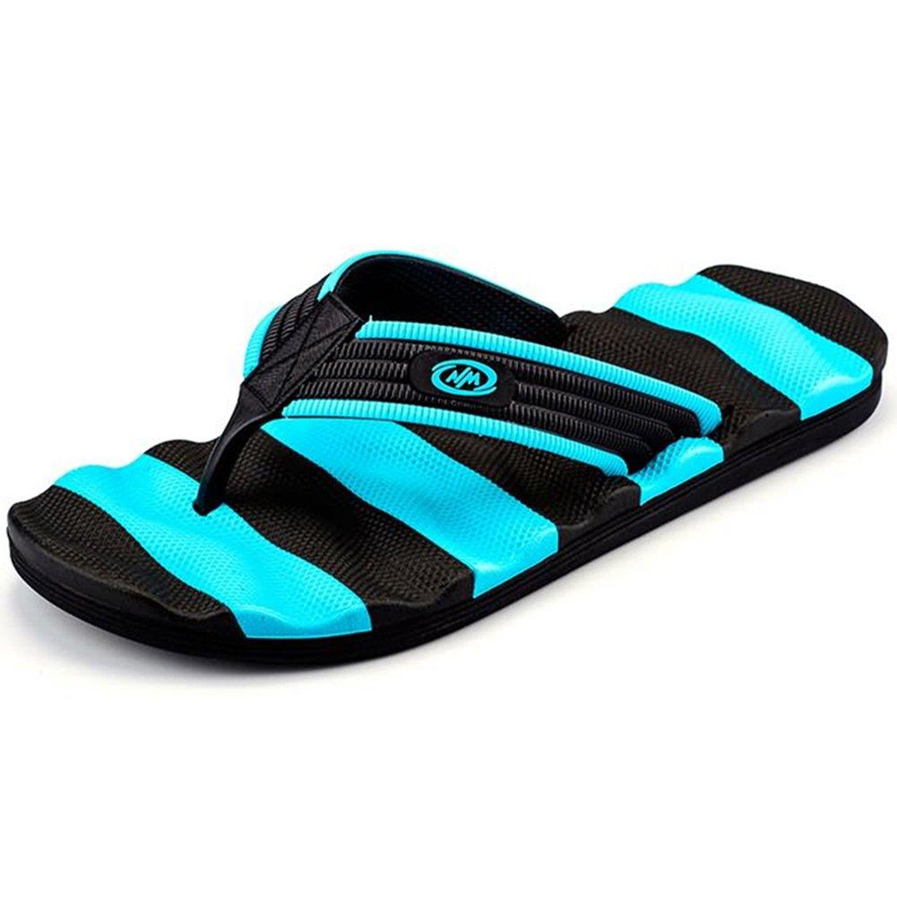 Muryobao Flip Flops for Men The Best Non Slip Summer Beach Big Man Slippers Large Size Extra Wide Platform Thong Sandals Blue Size 48 EU/14 US