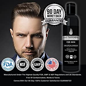 Hair Growth Shampoo for Men - Proprietary Blend Hair Thickening Shampoo by Hair Thickness Maximizer. Best Treatment for Thinning / Hair Loss. Paraben Free, Infused with Argan Oil, Mandarin, Vitamin E