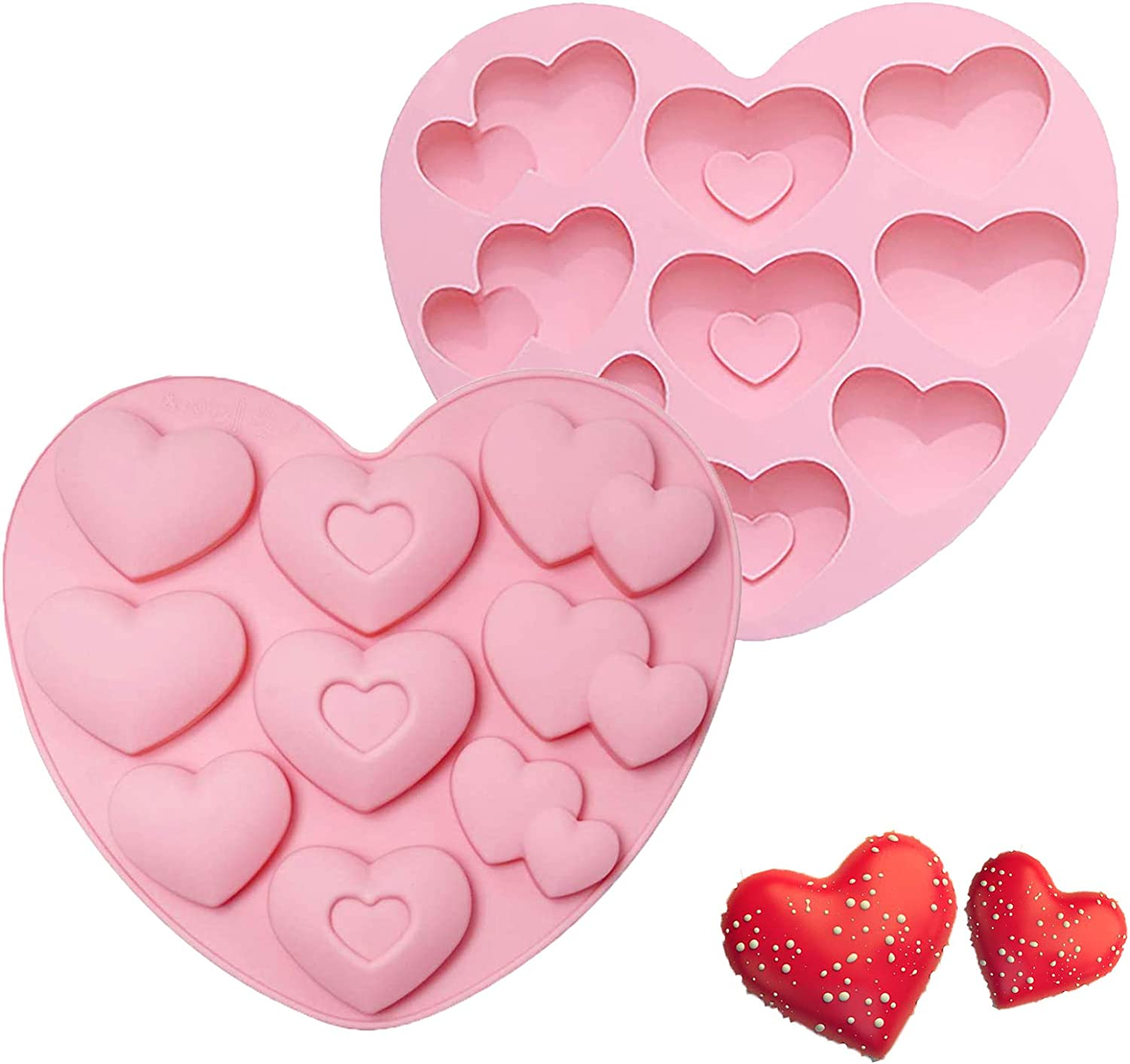 Meedy Heart Shaped Silicone Molds for Chocolate Bombs, 2 Packs Baking Mold for Hot Chocolate Bomb Cake Jelly Dome Mousse Dessert
