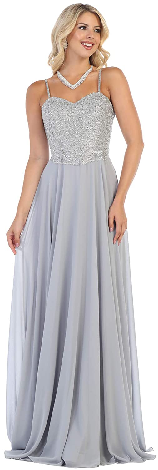 Silver Formal Dress Shops Inc FDS1588 Classy Special Occasion Formal Dress