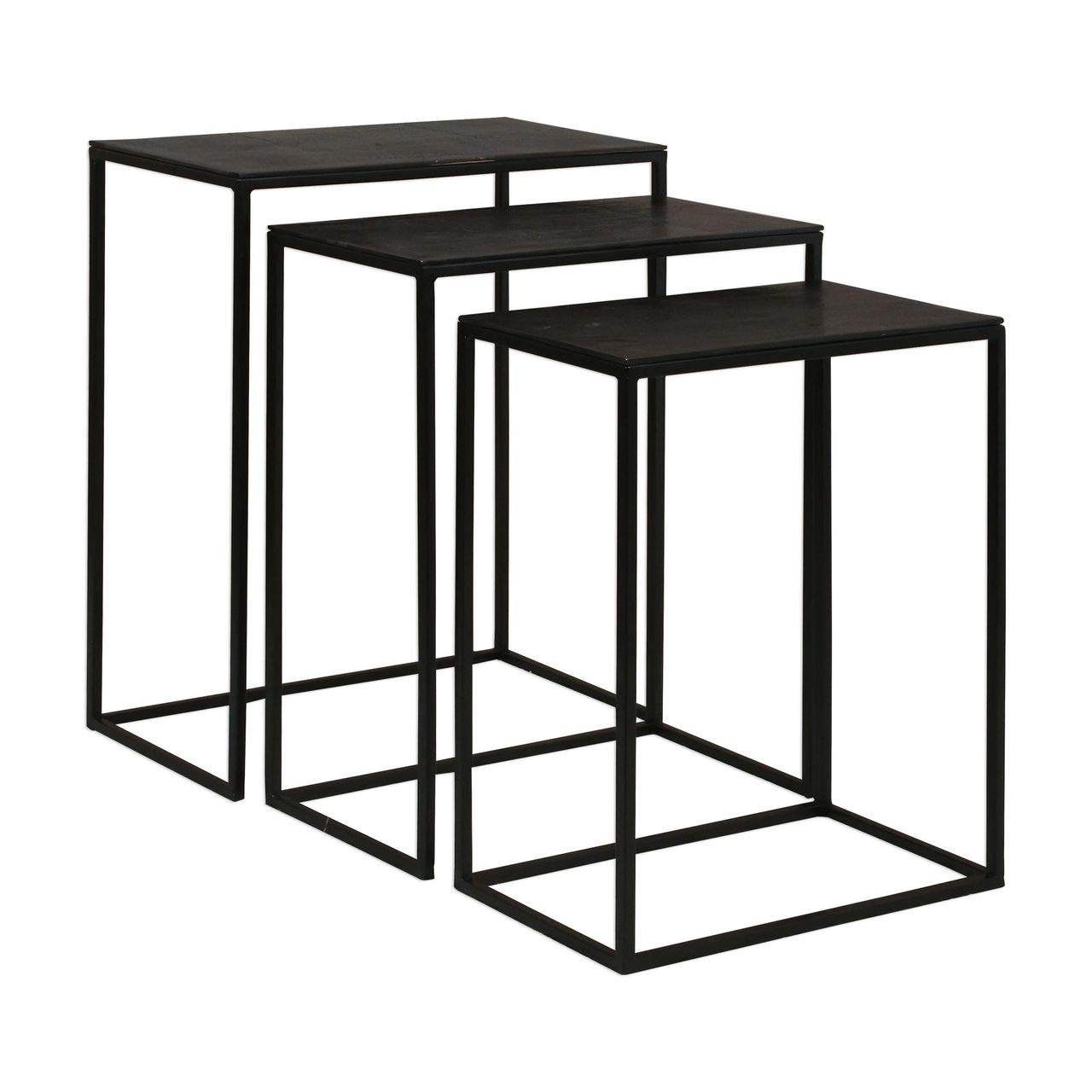 Uttermost Coreene 3 Piece Nesting End Table Set in Aged Black by Uttermost