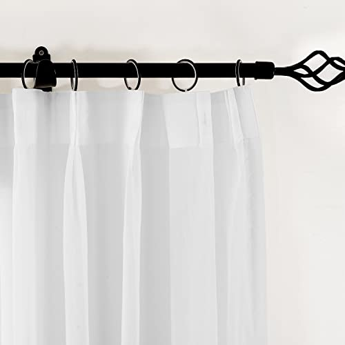 TWOPAGES White Sheer Curtains Voile Window Treatment Pinch Pleated Curtain Panel