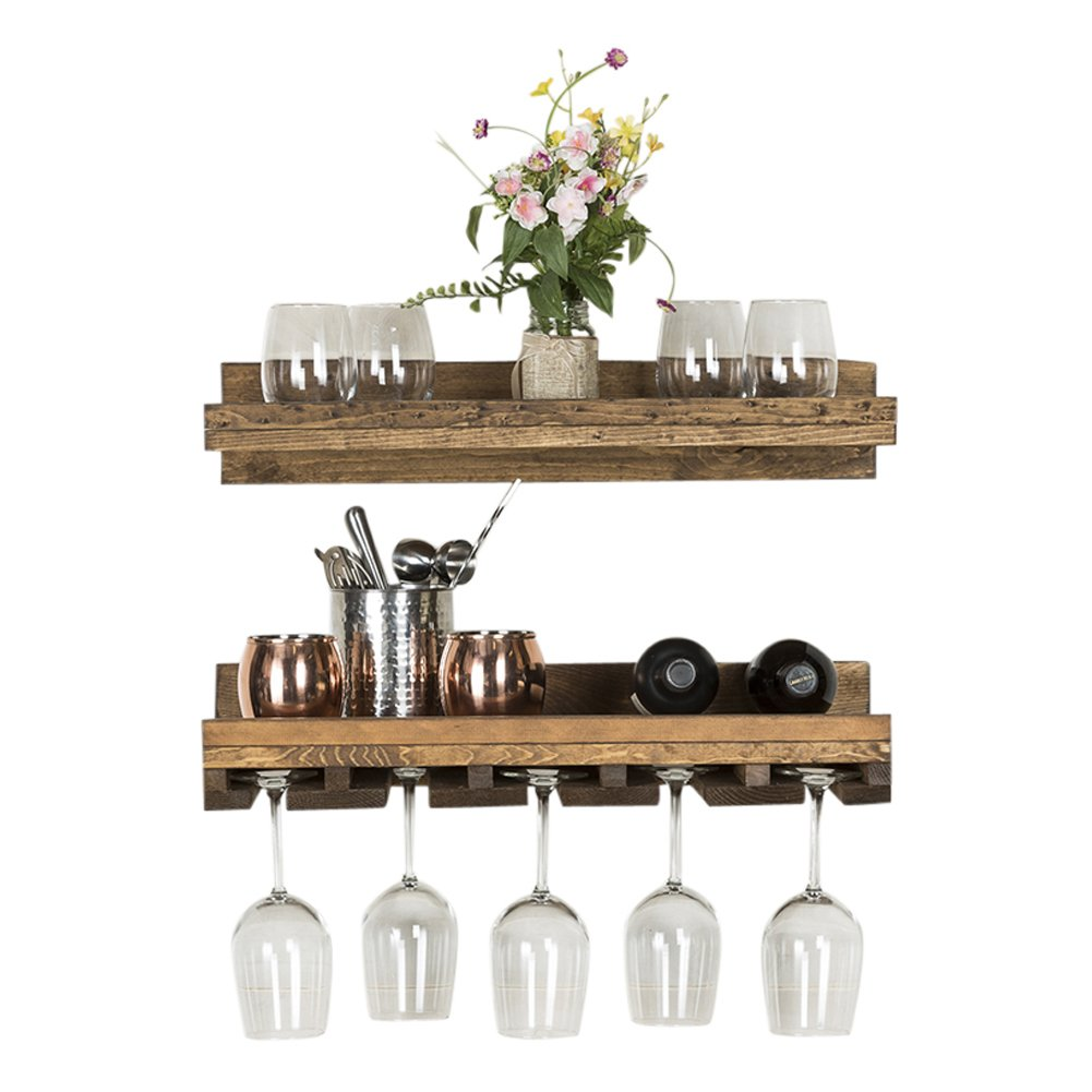 Del Hutson Designs Floating Wine Shelf and Glass Rack Set (Wall Mounted), Rustic Pine Wood Handmade (Walnut) by Del Hutson Designs