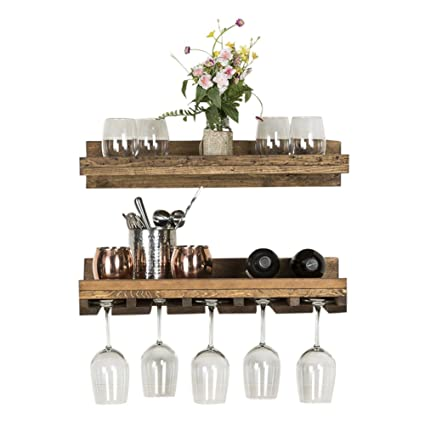 Del Hutson Designs Rustic Real Wood Wall Mounted Wine Bottle Rack Stemware Hanger Set Farmhouse Kitchen Dining Walnut 24 Inch 2 Ft