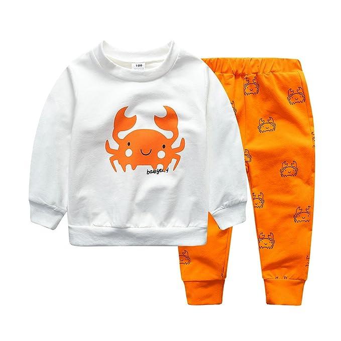 Hoplsen 2 piezas Conjunto Recién Niño Bebé Chicas Chicos Dibujos Crabe Impresión Manga larga Camiseta Tops