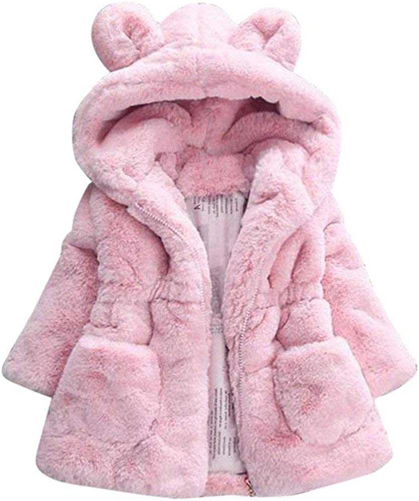 WuyiMC Cotton Coat for Girls Kids Faux Fur Fleece Lapel Coat Winter Warm Jacket for Baby Girls