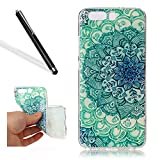 Leecase Pretty Cool Creative Green Jade Flower Painted Soft Flexible TPU Silicone Rubber Skin Bumper Cover Shock-Absorption Stylish Case Cover for Huawei P10