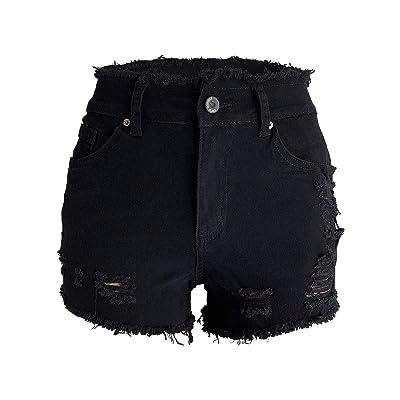 Aodrusa Womens Ripped Denim Shorts Mid Waist Sexy Short Cutoff Distressed at Women's Clothing store