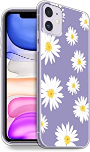 HELLO GIFTIFY Phone Case Compatible with iPhone 11 Pro Max (6.5 inch 2019) Clear Soft TPU Gel Protective Rubber Cover, Lavender Daisy Floral Flower Designed