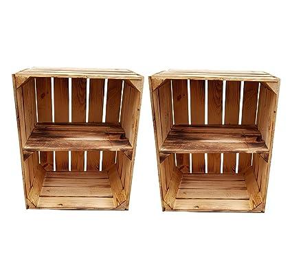 Ahora: estantes atornillados - Cajas de madera flameada para uso como zapatero o estanterí