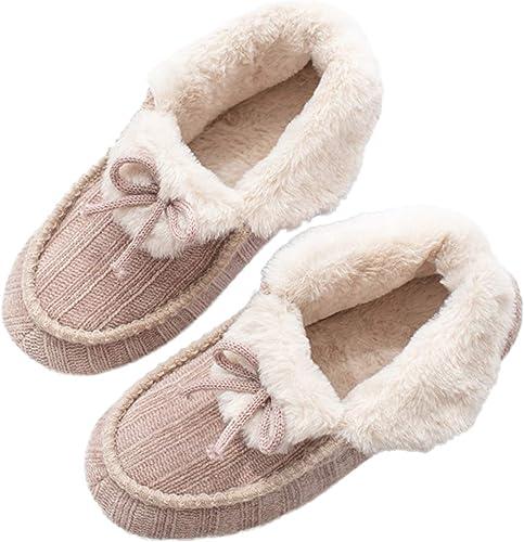 AONEGOLD/® Zapatillas de Estar por Casa para Mujer Hombre Invierno C/álida Piel Sint/ética Forrada Botines De Punto Interiores C/ómoda Antideslizante Pantuflas