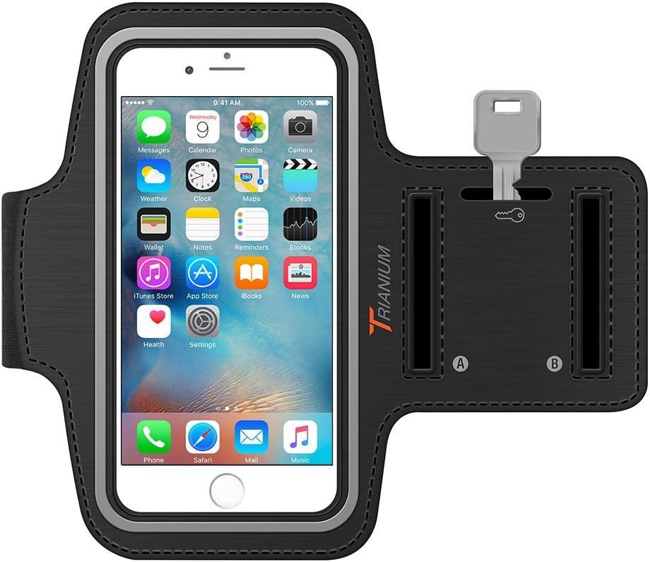 iPhone 6S Brassard, iPhone 6Brassard, Trianium Armtrek Sports d'exercice Brassard de sport pour Apple iPhone 66S Running Pouch Touch Compatible Porte-clés [Noir] [Garantie à vie] Bon pour la randonnée, vélo, marche