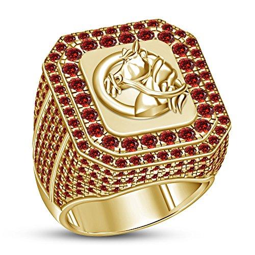 TVS-JEWELS Red Garnet Gemstone 925 Silver 10k Gold Plated Horse Head Symbol Ring (7.25)