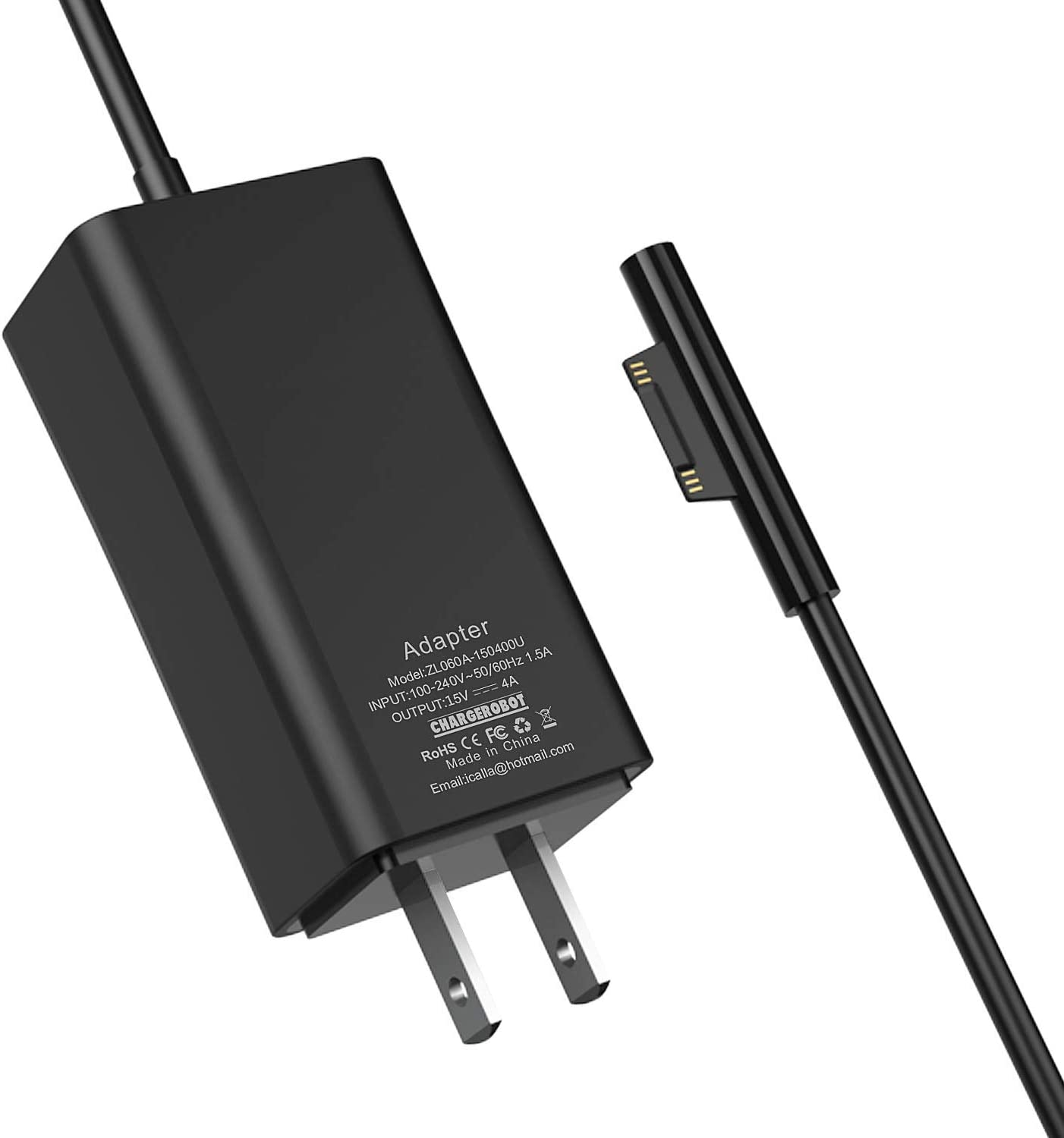 Microsoft Surface Pro Charger,65W Mini Travel Charger for Surface Pro 3/4/5/6 2017 Tablet/Surface Go/Surface Laptop/Surface Book,Surface Power Supply Adapter with 6.6Ft Power Cord(Black)