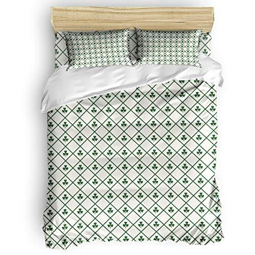 (LAMANDA Happy St. Patrick's Day 4pcs Bed Set Vintage Checker Plaid Tile Clover Leaf Bedding Sets Duvet Cover Flat Sheet No Comforter with Decorative Pillow Shams for Kids Women Men Teens)
