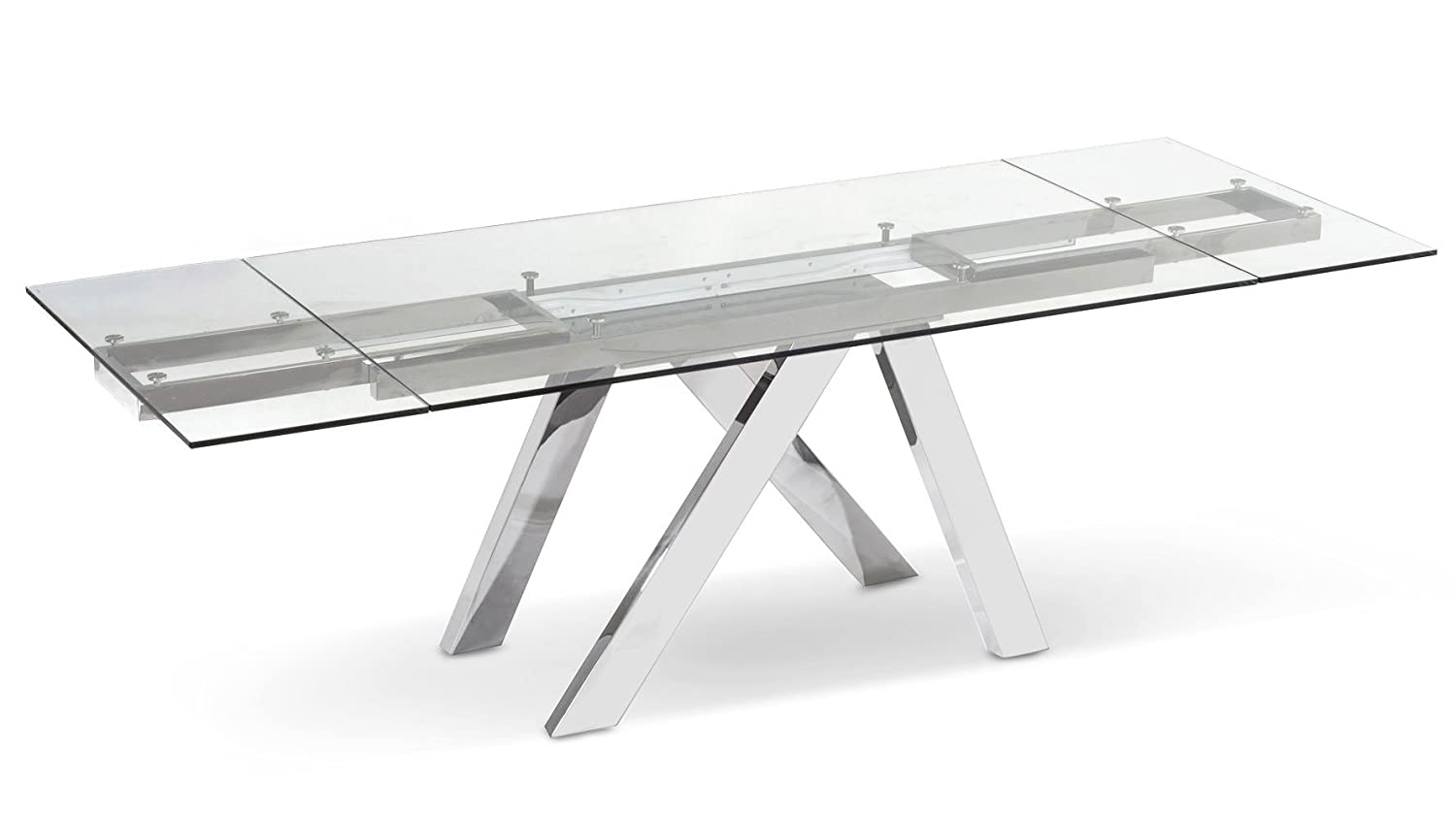 Zuri Furniture Cruz Expandable Modern Dining Table with Clear Glass Top