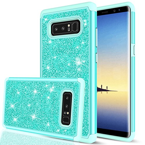 Galaxy Note 8 Glitter Case, LeYi Sparkle Bling Cute Girls Women Design [PC Silicone Leather] Dual Layer Hybrid Heavy Duty Scratch-Proof Protective Phone Case for Samsung Galaxy Note 8 TP Mint