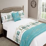Dreamscene Love You Bed in a Bag Set With Pillowcases Complete Bedding Set, Teal, Double by Dreamscene