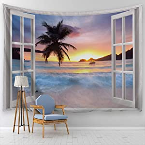 """ALFALFA Wall Hanging Decor Nature Art Polyester Fabric Tapestry, Ocean Beach Theme, for Dorm Room, Bedroom,Living Room - 90"""" W x 71"""" L (230cmx180cm) - Seaside Sunrise Out of The Window"""