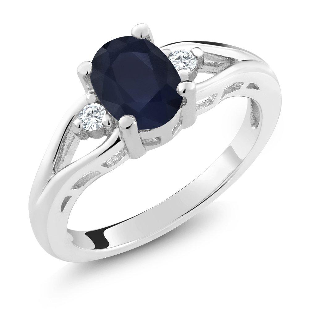 925 Sterling Silver Blue Sapphire 3-Stone Women's Ring 1.83 8x6mm Oval Gemstone Birthstone (Size 6)