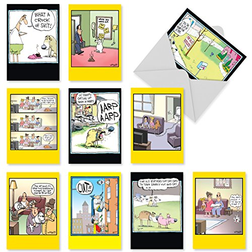 - Funny Cartoon Happy Birthday Greeting Cards 4.63 x 6.75 inch - 10 Assorted Notecards 'Doggone Funny' - Hilarious Dog Bday Cards for Men and Women - Mixed, Bulk Card Assortment w/ Envelopes A1243