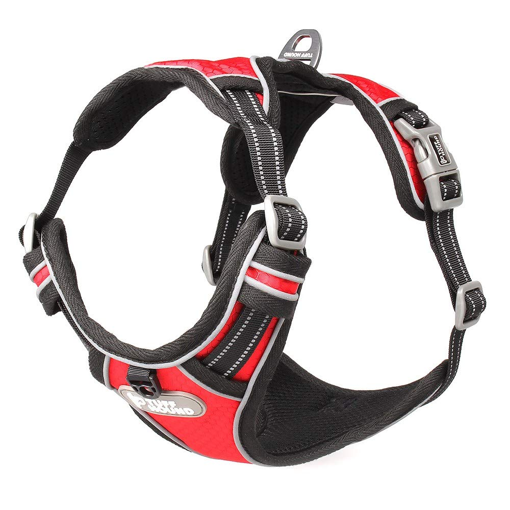 Red SmallDog Harness, Dog Vest Harness with Leash, Front clip pet vest harness, harness handle, reflective canvas dog strap, outdoor adventure training, Size Adjustable