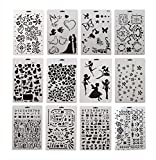 VEVELE 12 pieces drawing painting stencils scale template sets graphics stencils for scrapbooking, card and craft projectsPractical and adequate quantitiesCome with 12 different style drafting templates to meet your needs. Every template has ...
