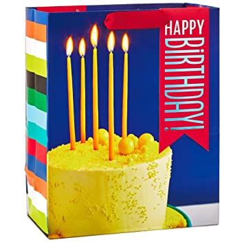 Amazon Hallmark Happy Birthday Cake With Candles Large Gift Bag