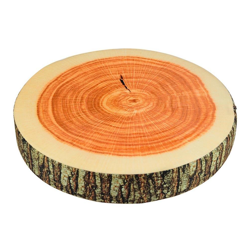 3D Wood Tree Slice Log Micro Bead Head Memory Cushion Soft Plush Chair Seat Neck Sleeping Throw Pillow Cushion for Home Office Car (Round)