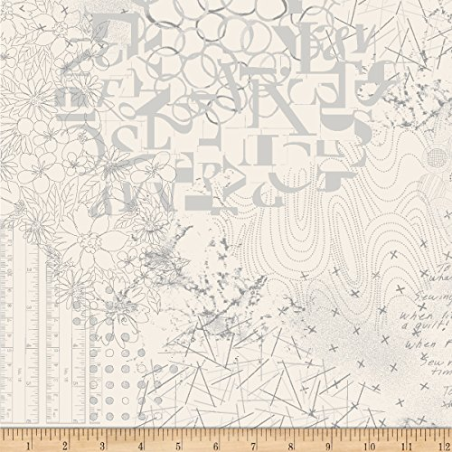 Studio 37 Laura Berringer Fade Out Low Volume Collage Fabric by the Yard, Cream