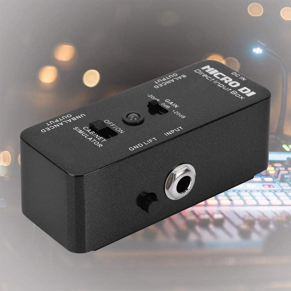 Naroote Efecto bajo de Guitarra, Pedal de Caja DI Micro Profesional, efector de Bloque único, Carcasa metálica Completa