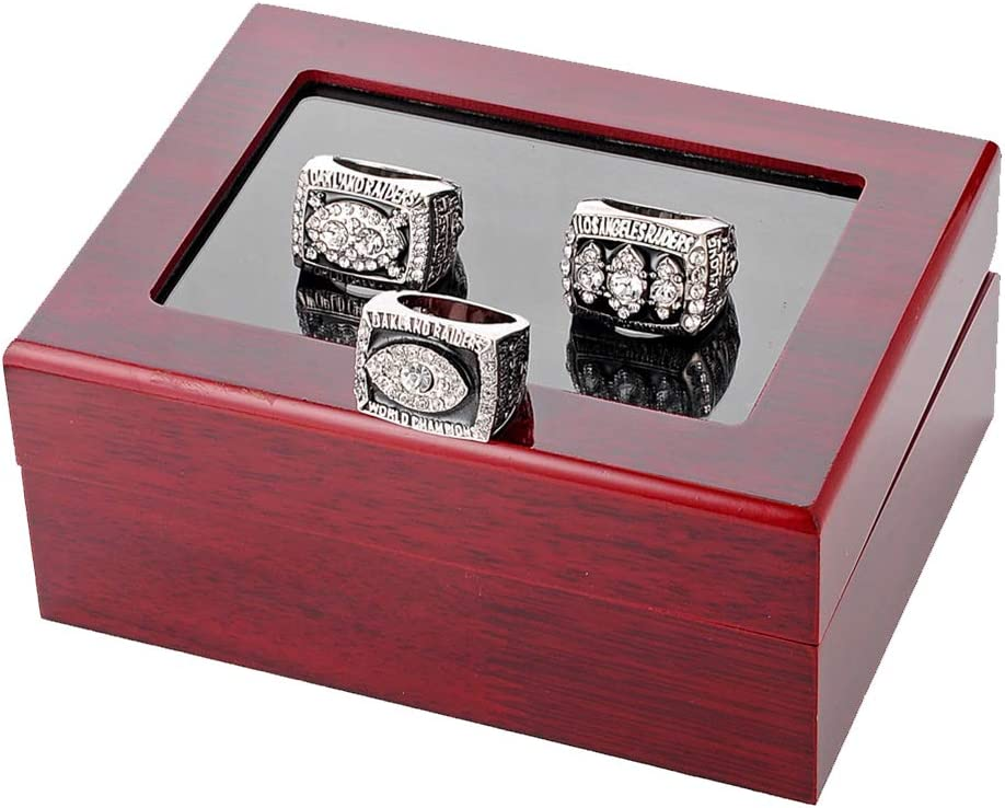 Juego de anillos para hombre de 3 piezas, anillos de los fanáticos del deporte de Oakland Raiders Super Bowl de campeonato con caja de madera de exhibición Tamaño 11 para regalo del día de padres