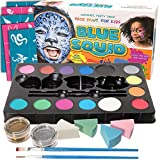 Blue Squid Face Paint Kit | 14 Color, 30 Stencils, 4 Professional Sponges, 2 Brushes, 2 Glitters | Best Quality Ultimate Party Pack for Kids | Vibrant Water Based Painting Set Non-Toxic FDA Approved