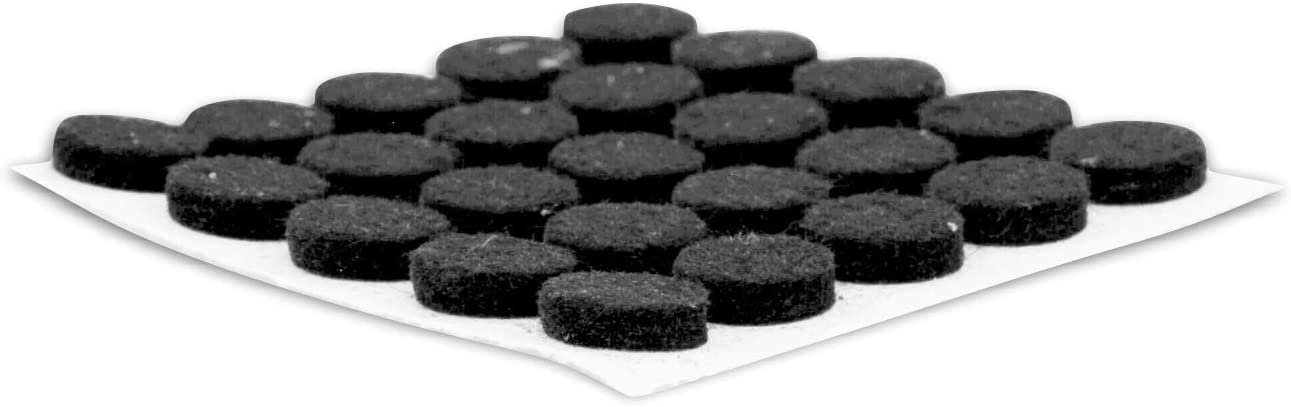 "Rok Hardware Heavy Duty Self-Adhesive Felt Pad Bumpers, 3/8"" Diameter, 1/8"" Height, Round, Black, Pack of 168 - FELTP38BLK"