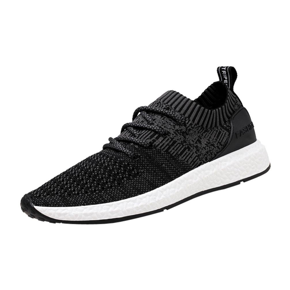 2018 Mens Running Sneaker,Casual Mesh Breathable Lace up Sports Shoes (Black, US:10)
