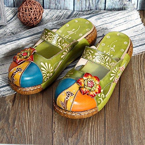 Compensés Cuir Plage Chaussures en Fille la à Gracosy à Fleurs Jardin Femme Bleu Été Mains Ville Sabots Talons Pour Rouge de Clogs Vert Pantoufle Vert Plates Fait Sandales à Gris 7xqxXvS