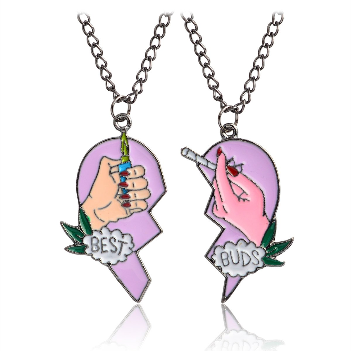 "QIHOO ""Best Buds BFF Best Friends Valentine Cannabis Pot Matching Pendant Necklaces Gift Set of 2"