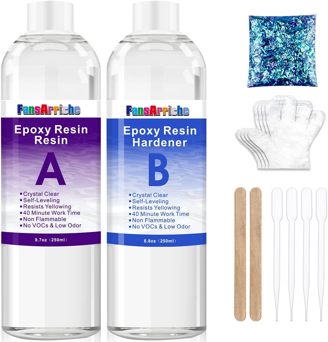 FansArriche 18.5 Ounce 2 Part Epoxy Resin Crystal Clear for Art, Crafts & Jewelry Making, Non-Toxic Resin with 4 Dropper 2 Sticks 2 Pair Gloves and 1 Pack of Resin Glitter