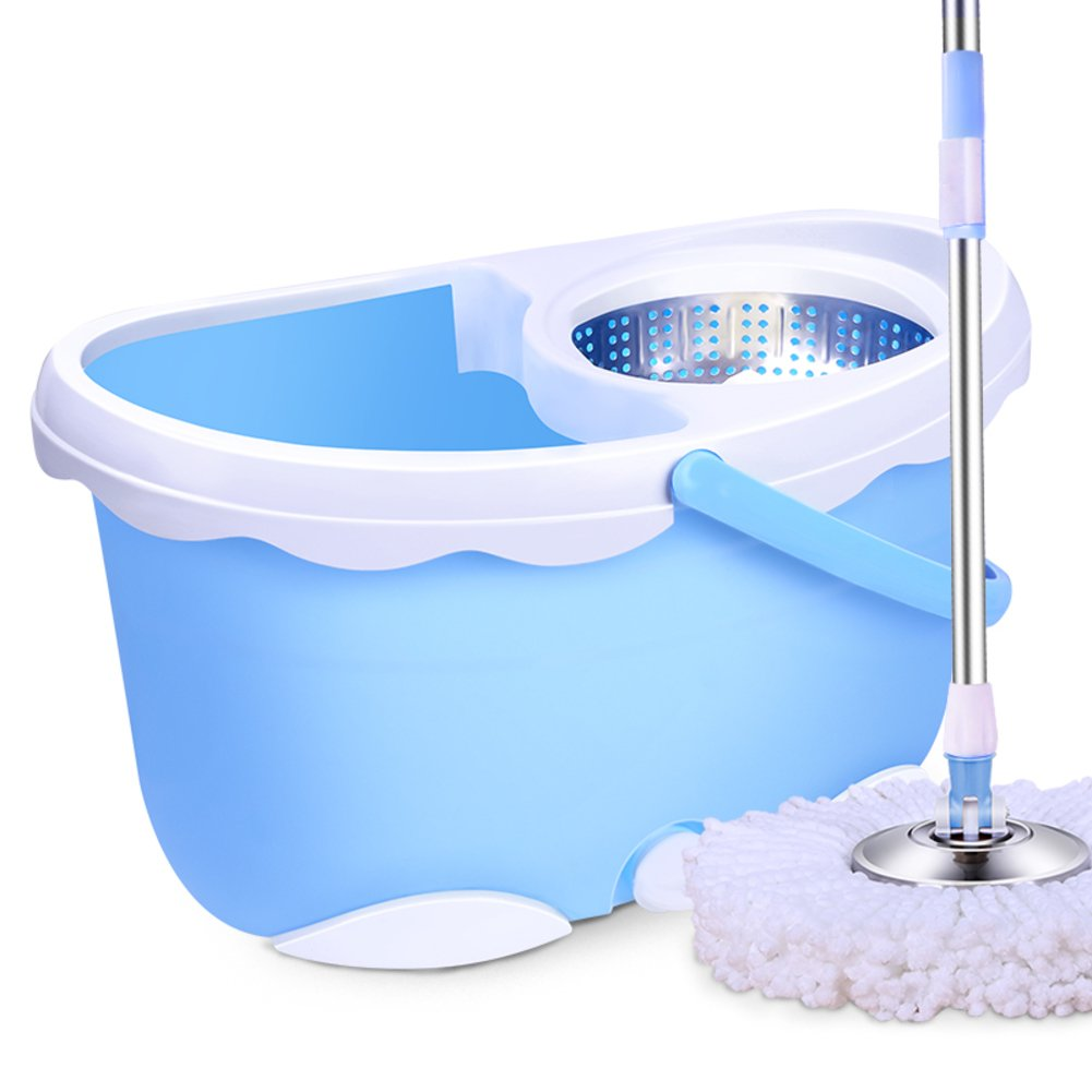 TOP Mop bucket with wringer System Household Free-hand wash Stainless steel Spin mop For Living room Dining room Hardwood Floor cleaning-Blue by TOP