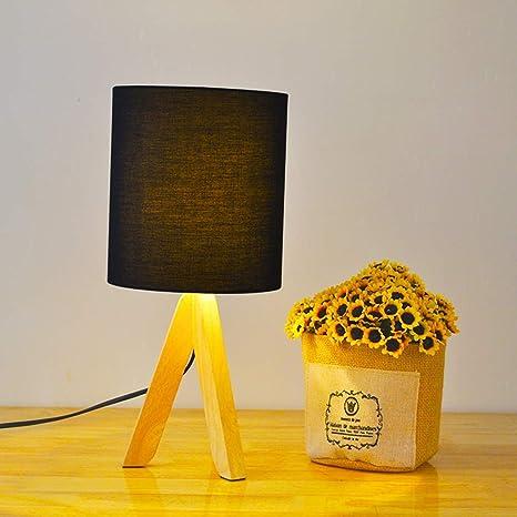 CWJ Lámpara de Mesa, lámpara de Escritorio, Madera Maciza ...