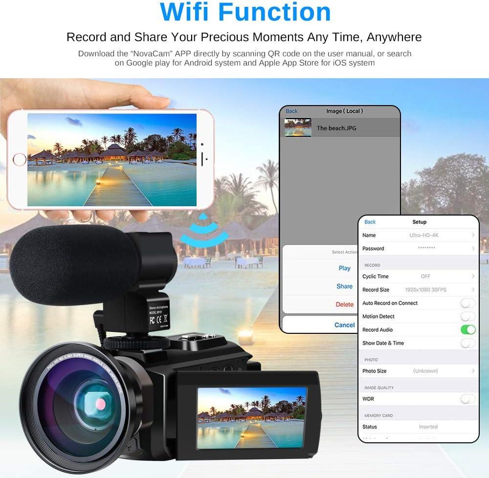 Videocámara 4K Vlogging Cámara Digital con WiFi Ultra HD de 48.0MP 3.0 Pulgadas Pantalla táctil Visión Nocturna 16X Grabador de Zoom Digital con micrófono Externo y Lente Gran Angular, 2 baterías: Amazon.es: